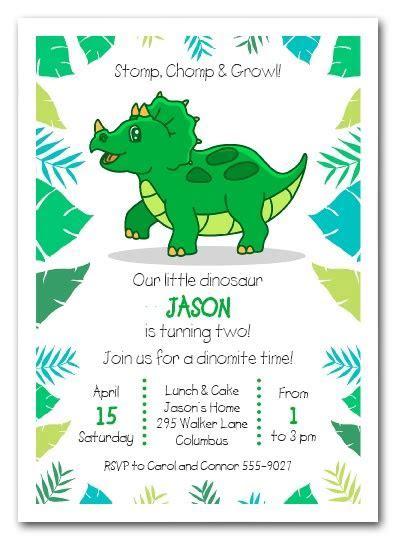 Triceratops Dinosaur Birthday Party Invitations