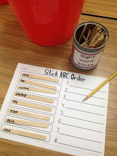 popsicle stick sight word centers! (10 centers)