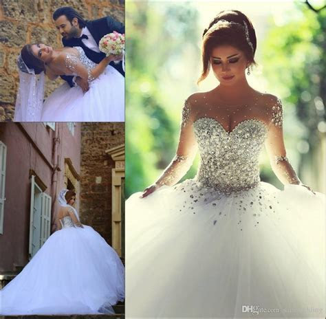 Ball Gown Sheer Long Sleeves Wedding Dresses 2017 Beaded