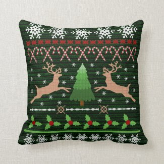 Funny Christmas Sweater Holiday Reindeer Throw Pillows