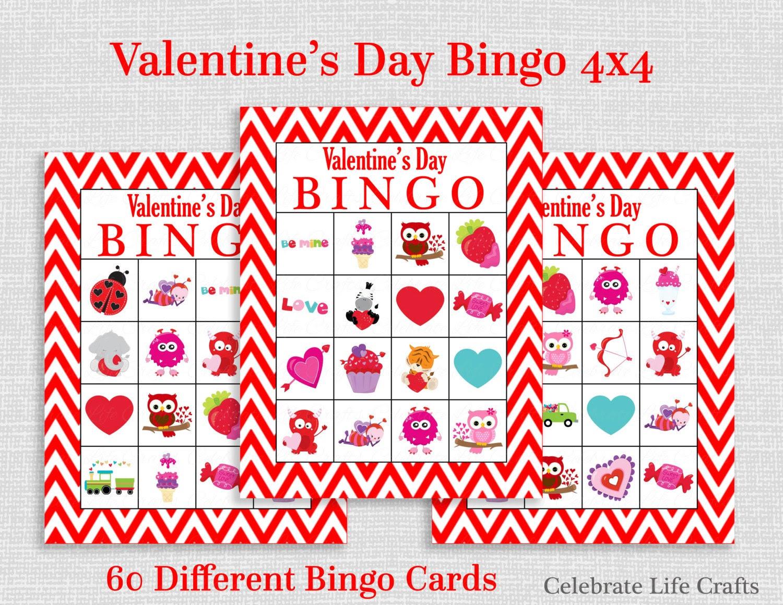 Valentine Bingo Game 60 Printable Valentine