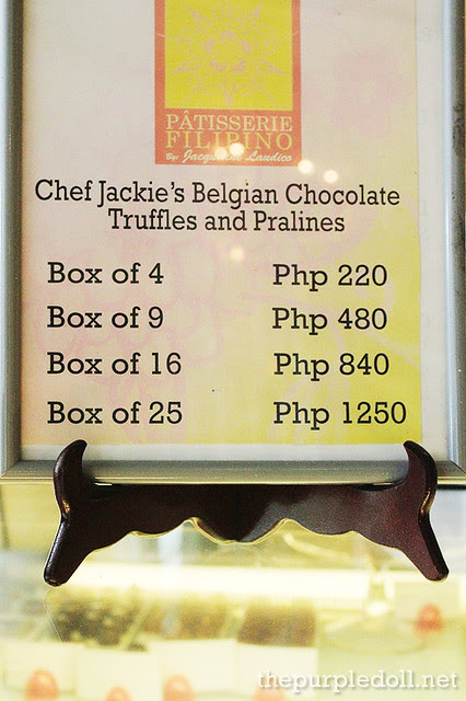 Patisserie Filipino Truffle and Praline Prices
