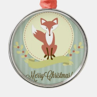 Fox and Wreath Round Metal Christmas Ornament