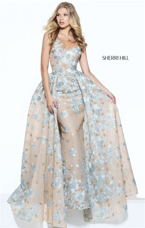 sherri hill  floral fitted gown  overskirt