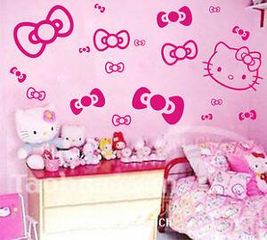 HELLO KITTY&BOWS WALL ART DECO STICKER PRINCESS ROOM | eBay