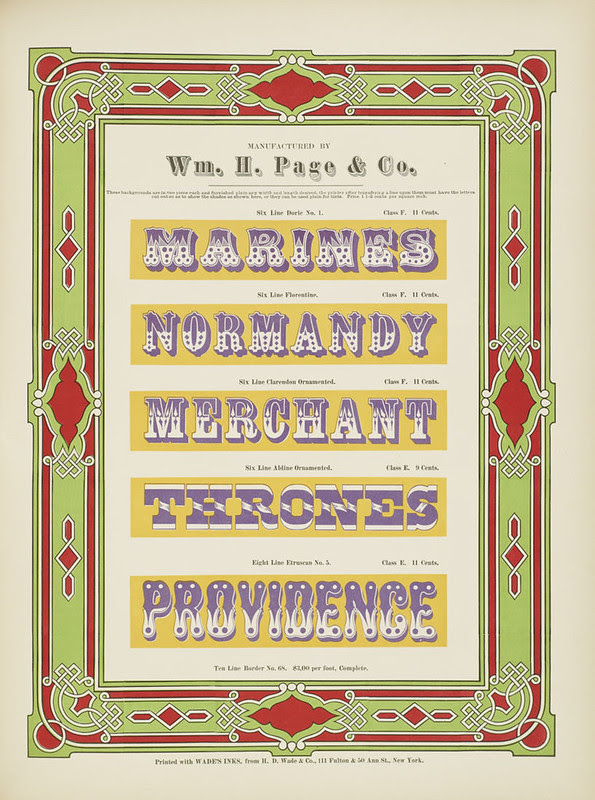 Specimens of chromatic wood type, borders 1874 - [via Columbia U] (..Providence) Doric Florentine + Ornamented type
