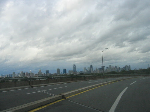 Near the turnpike, Jersey City and Manhattan in the distance