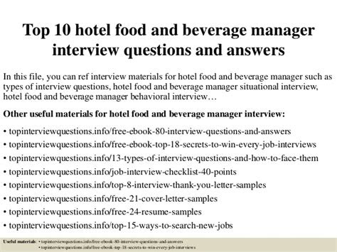 top  hotel food  beverage manager interview questions