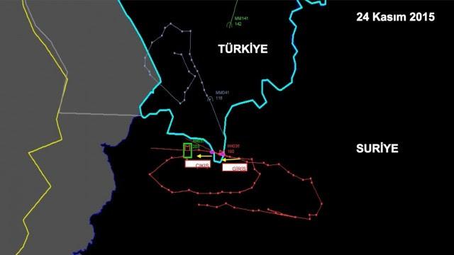 Mapa da rota do avião russo abatido pela Turquia