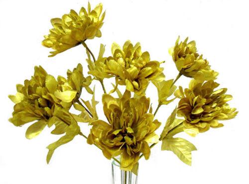 5 Mums Gold Wedding Bridal Bouquet Silk Flowers Centerpiece 50th Anniversary Floral Decor Home Garden