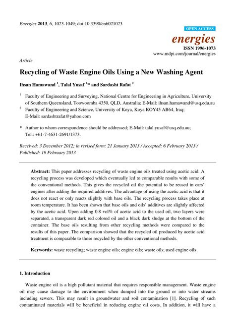 (PDF) Recycling of Waste Engine Oils Using a New Washing Agent