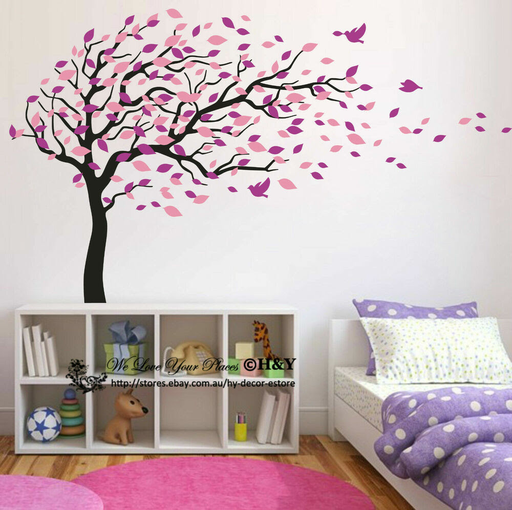 Blowing Tree Birds Wall Stickers Nursery Decal Baby Kids Art Decor Removable DIY  eBay