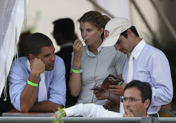 Athina Onassis Roussel Alvaro Affonso de Miranda Neto (L), Athina Onassis Roussel (C), and Rodrigo Pessoa (R) attend the International Monte Carlo Jumping competition on June 22, 2006 in Monte Carlo, Monaco.