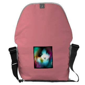 snowshoe kitty surrounded by rainbow messenger bag