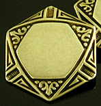 Hexagonal gold cufflinks with black enamel tracery. (J9282)