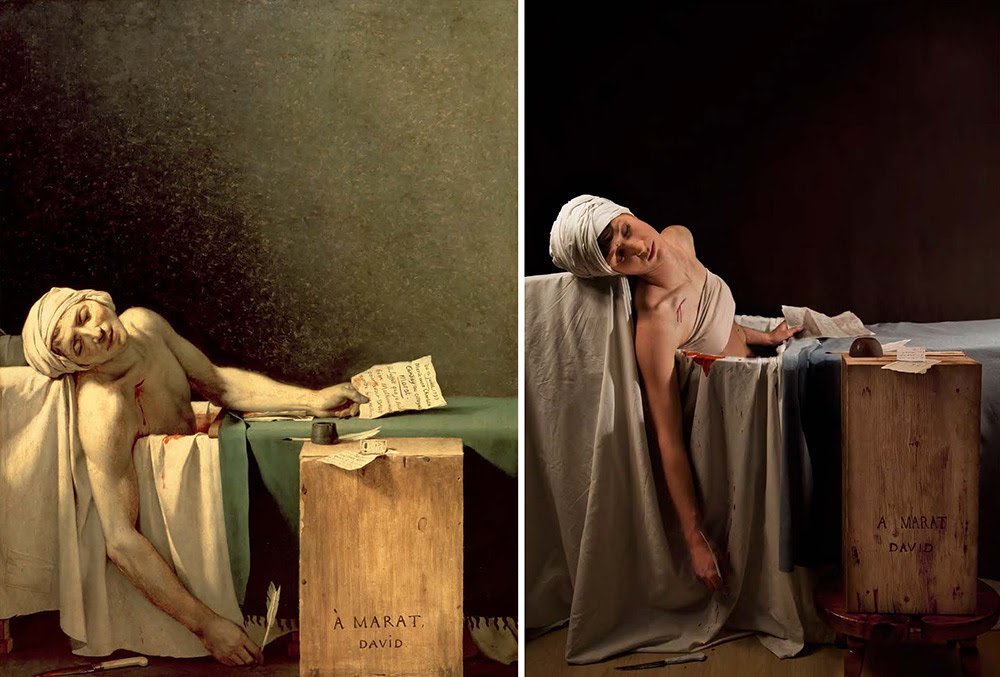 """Jacques Louis David, """"The Death of Marat,"""" 1793, oil on canvas, remake by Adrianne Adelle"""