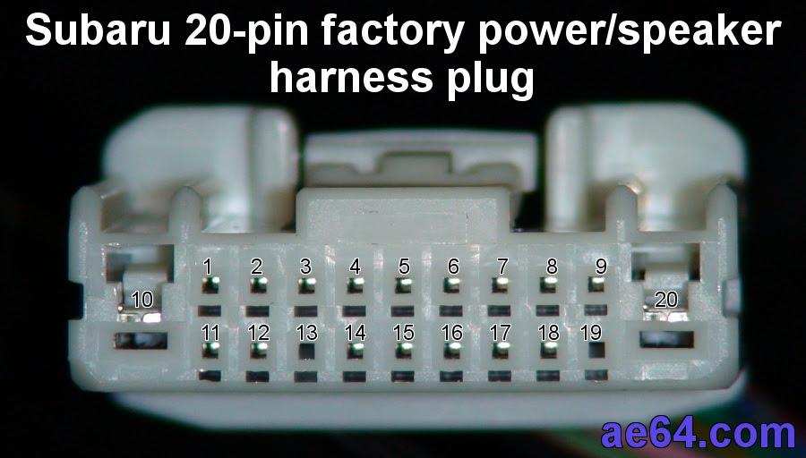 Subaru 20 Pin Radio Harness Pin Out