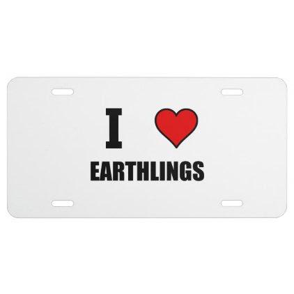 I Heart Earthlings License Plate