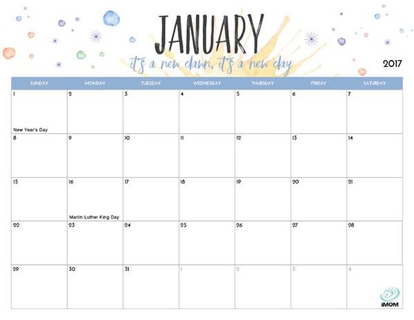 2017 Printable Calendar for Moms - iMom