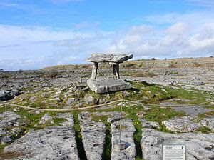 English: Poulnabrone Dolmen and The Burren, Ir...