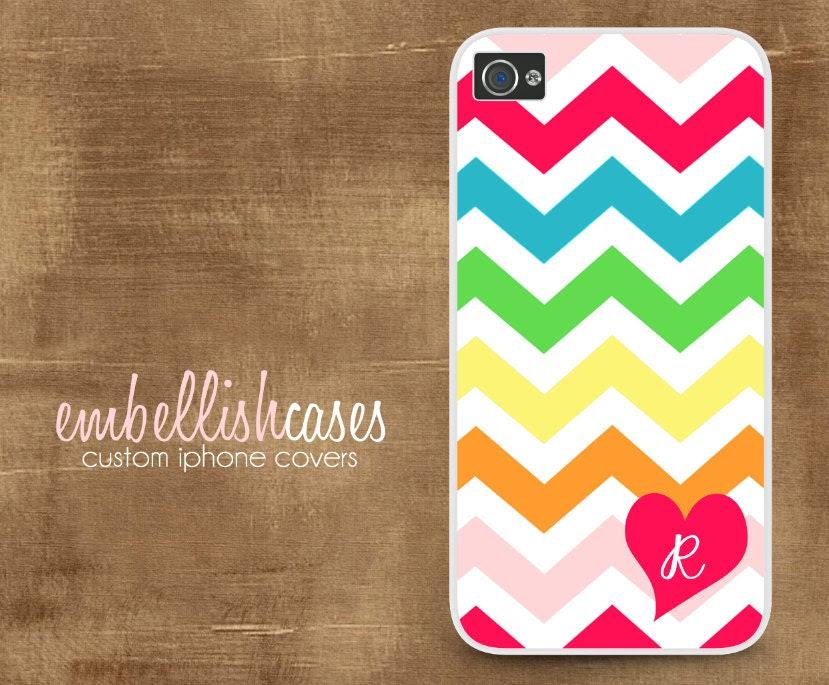 iPhone 4 case, monogram iPhone 4s Case, rainbow iPhone case, heart chevron 163