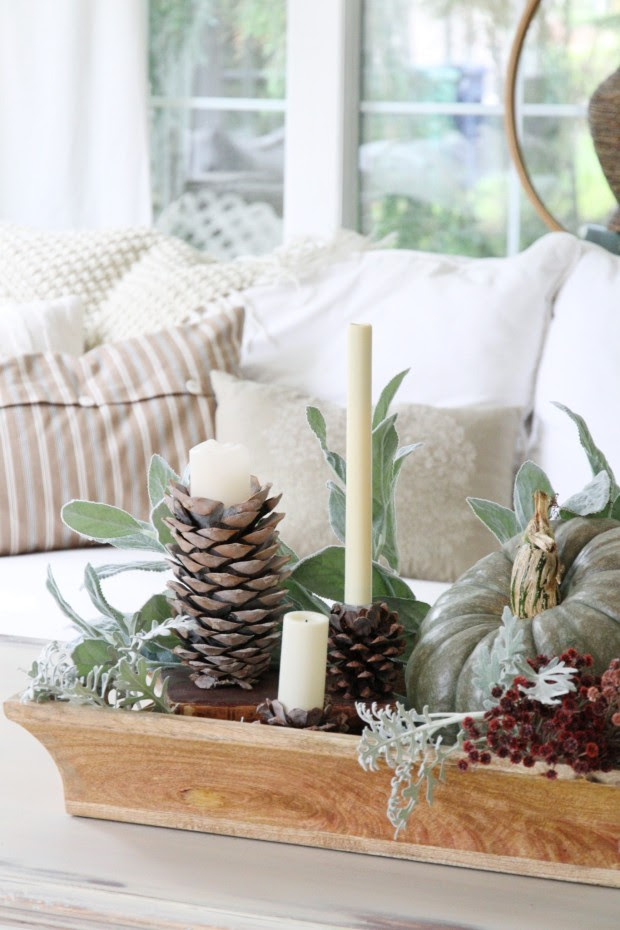 DIY Pinecone Candleholders for fall and winter made by Zevy Joy  ||  Friday Favorites at www.andersonandgrant.com