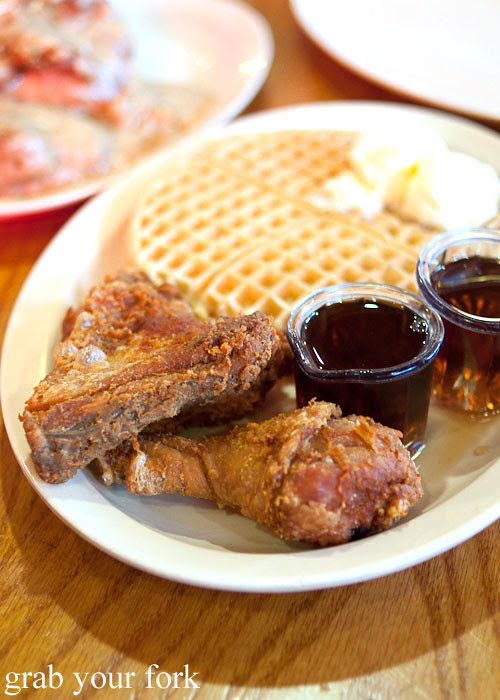 fried chicken with waffles at roscoes house of chicken and waffles in la los angeles