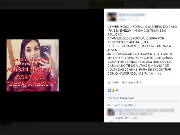 Jovem está desaparecida há cerca de um mês em Campos do Jordão, SP (Foto: Reprodução/ Facebook)