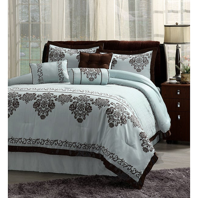 7pc Fontain Icy Blue and Brown Cal King Comforter Bedding Ensemble ...
