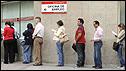 Queue at a Madrid job centre - file pic