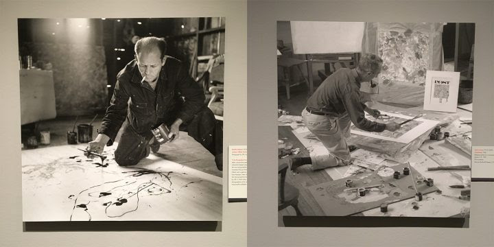 "Left: Martha Holmes (1923–2006), ""Jackson Pollock Works in His Long Island Studio"" (1949), photograph for 'LIFE' magazine; right: Louie Lamone (1918–2007), reference photo for ""The Connoisseur""; both on view in <em>Rockwell and Realism in an Abstract World</em> (all photos by the author for Hyperallergic)"