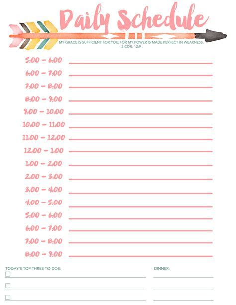 Daily Schedule Free Printable