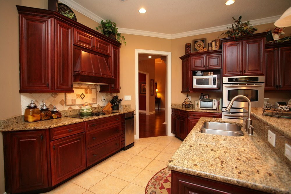 Cherry Cabinets Wall Color - Home Furniture Design