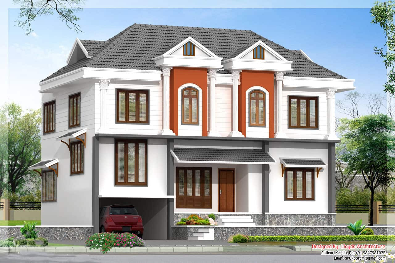 2172 Kerala House with 3D View and Plan - Apartment Designs Shown With Rendered 3D Floor Plans