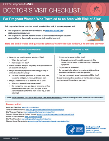 Doctors visit checklist: For pregnant women who traveled to an area with Zika fact sheet thumbnail
