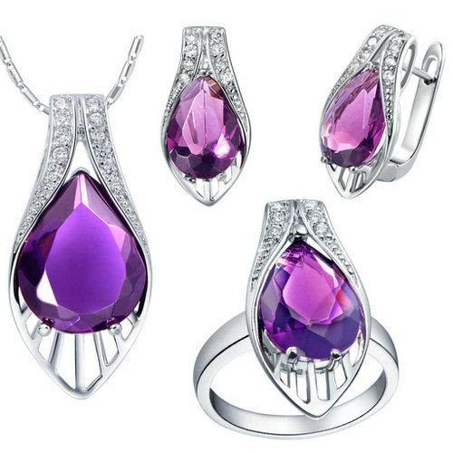 Virgin Shine Platinum Plated Rhinestones Shell Jewelry Sets Purple