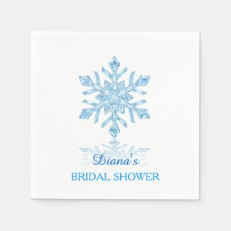 Glass Snowflake Winter Bridal Shower Paper Napkin