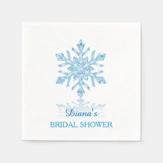 Glass Snowflake Winter Bridal Shower Paper Napkin
