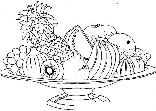 Colorear Plato De Frutas Colorear Comida Dibujo Para Pintar Y