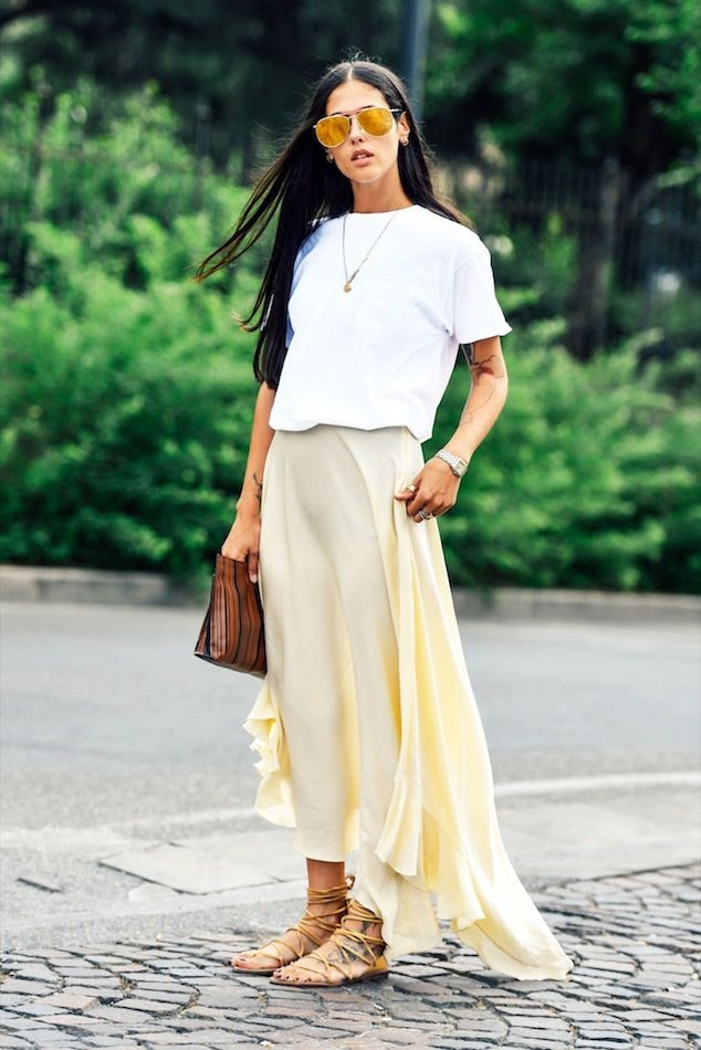 Le Fashion Blog Casual Chic Summer Street Style Mirrored Sunglasses White Tee Pale Yellow Ruffle Maxi Skirt Tan Lace Up Sandals Via Tommy Ton