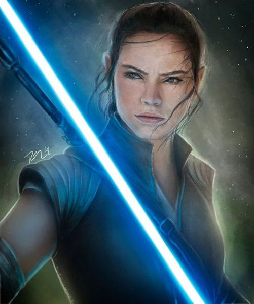 Fan-made artwork of Rey (Daisy Ridley) as she embraces her Jedi destiny in STAR WARS: THE LAST JEDI.