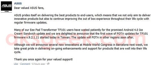 ASUS Eee Pad Transformer TF101 ICS update