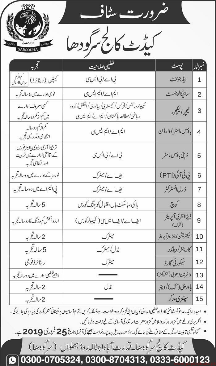 Cadet College Sargodha Jobs 2019 Latest