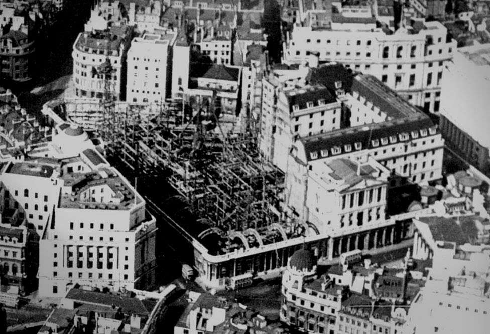 Aerial view of the Bank of England during rebuilding, 1930s