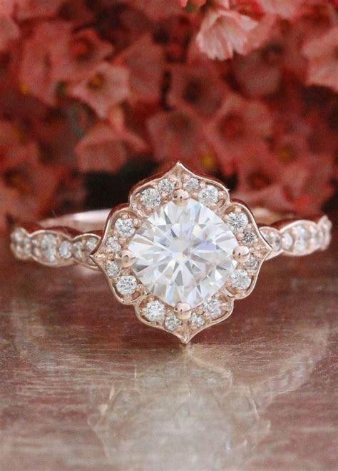 Forever One Moissanite Engagement Ring 14k Rose Gold Mini