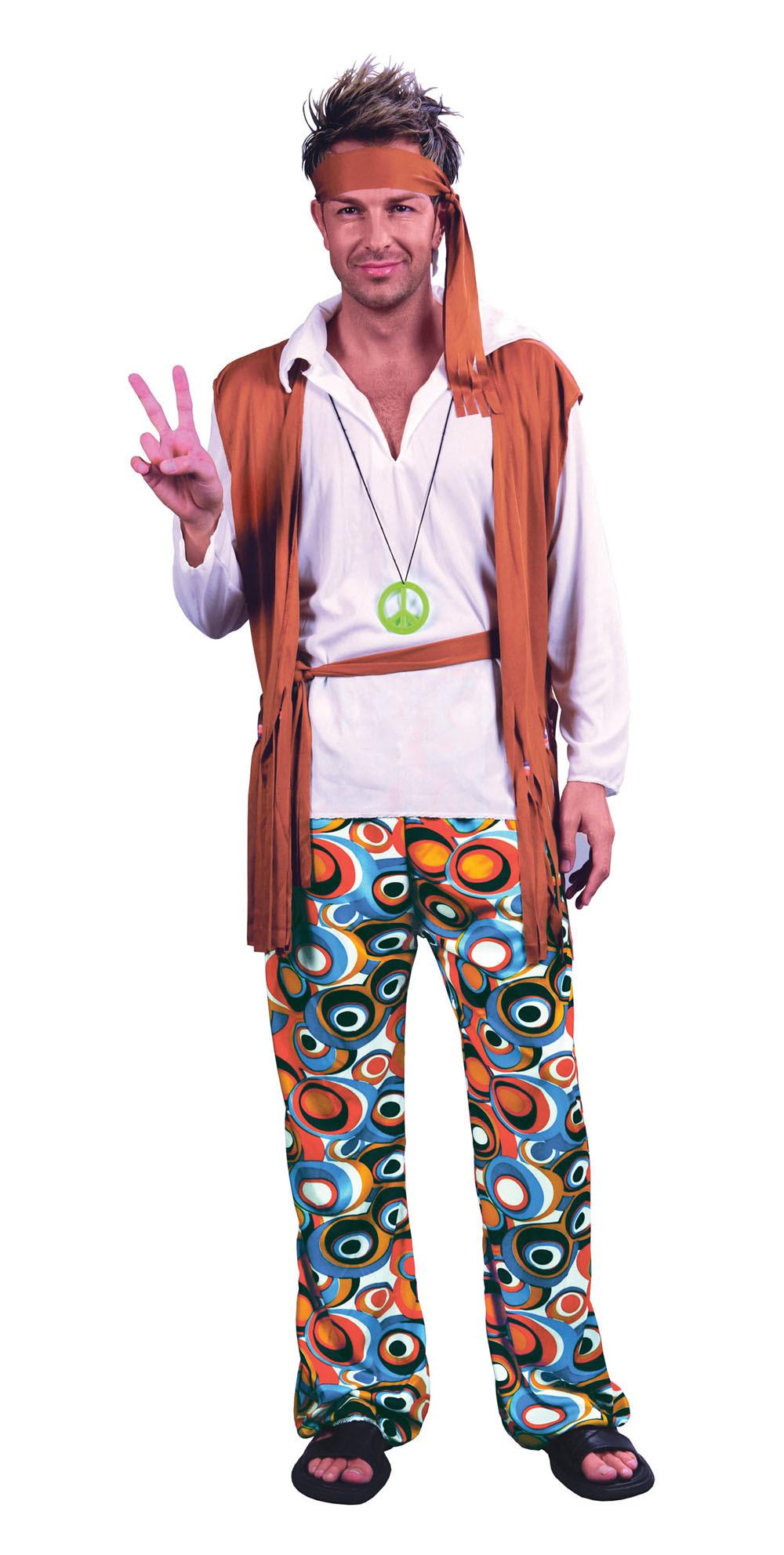mens plus size hippy 1970s flower power fancy dress
