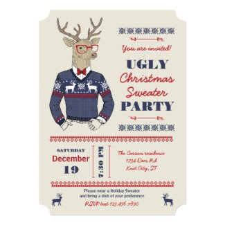 Hipster Deer Ugly Christmas Sweater Invitation