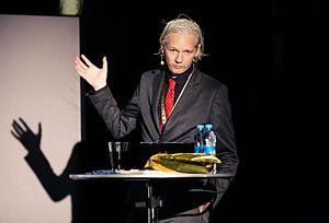 Julian Assange at New Media Days 09 in Copenhagen.