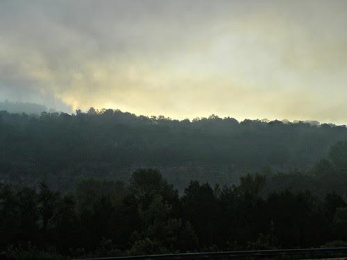 sunrise, morning fog, Kimball, Tennessee
