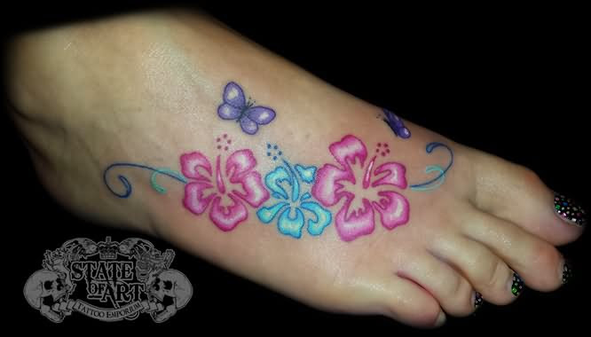 Hibiscus Flowers Tattoo On Right Foot For Girls